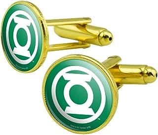 GRAPHICS & MORE Green Lantern White Logo Round Cufflink Set Gold Color