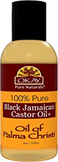 OKAY | 100% Pure Black Jamaican Castor Oil | For All Hair Textures & Skin Types | Grow Healthy Hair - Treat Skin Conditions | Oil of Palma Christi | All Natural | 4 Oz