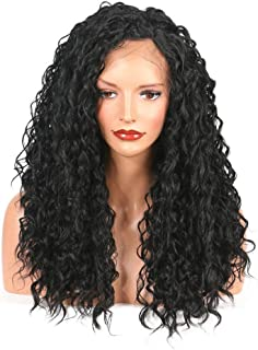Hairpieces Hair Extension Curly Lace Hair Wig 150% Density for Black Women's Wig Hair Weave (Color : Black, Size : 16inch)