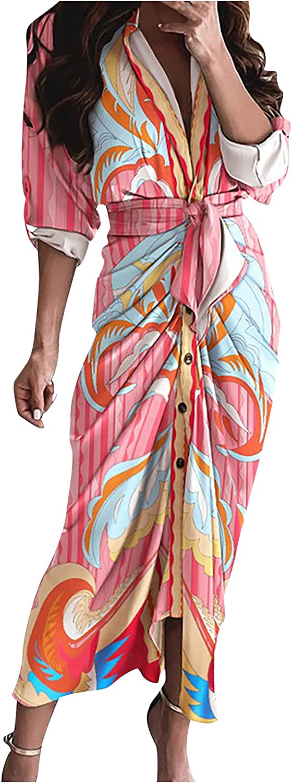 5665 Women Button Down Lapel V Neck Tshirt Dresses, Long Sleeve Beach Hawaii Bohemian Y2K Waist Belted Sexy Long Wrap Dress