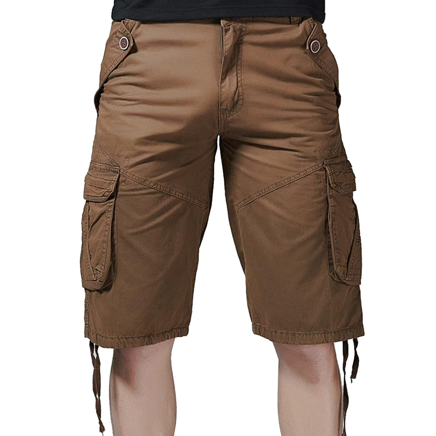 JJLIKER Men's Cotton Loose Fit Multi Pocket Cargo Shorts Outdoor Wear Lightweight Summer Fashion Trouser Pants