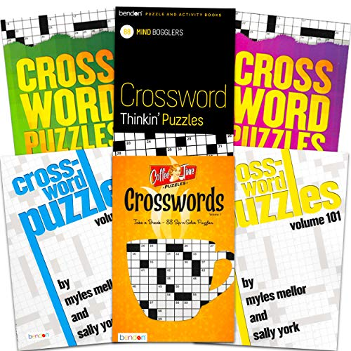 Crossword Travel Puzzle Books for Adults Seniors Super Set ~ Bundle of 6 Crossword Puzzle Books (Over 480 Puzzles Total)
