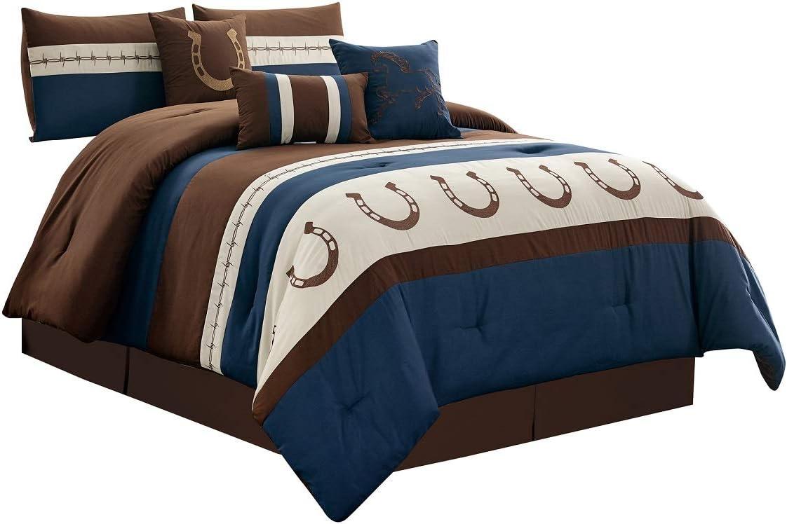7 Piece Max 88% OFF Rustic Comforter Set. Navy Brown Horseshoe Sales for sale Blue Beige