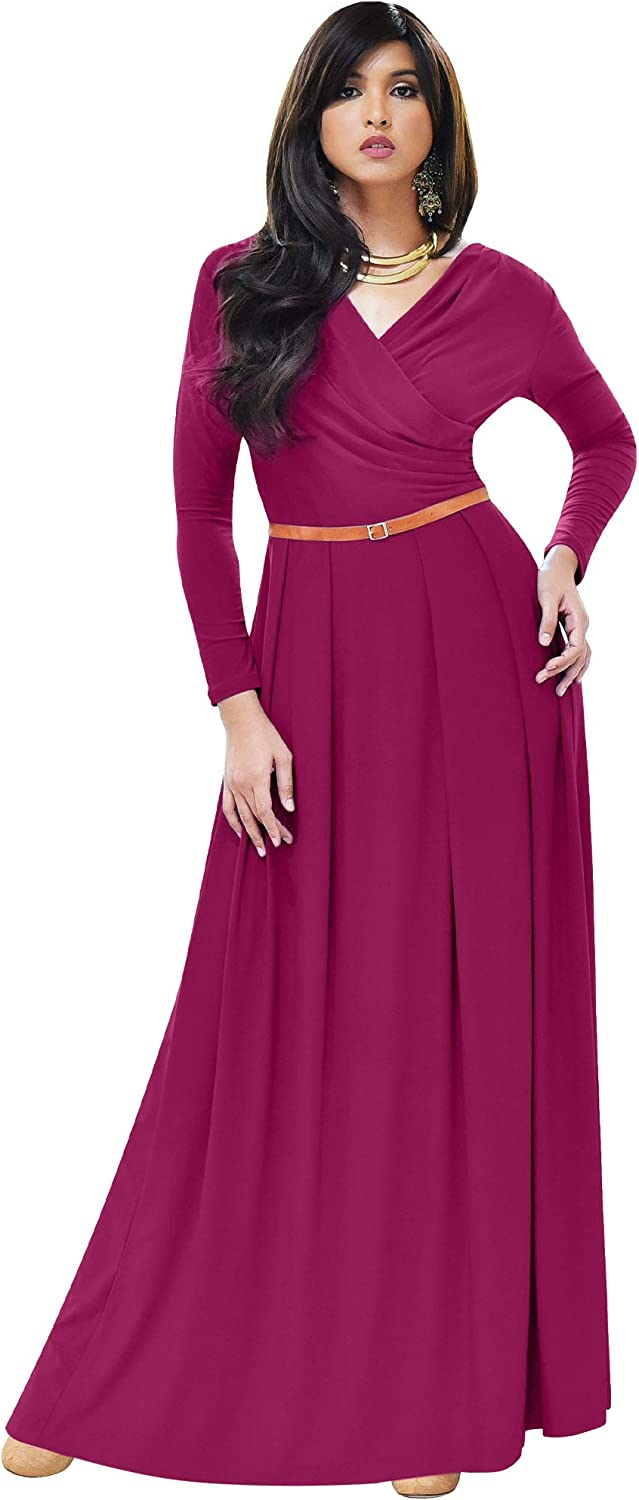 KOH Womens Long V-Neck Full Formal Evening At the price Sleeve Now on sale Semi Flowy