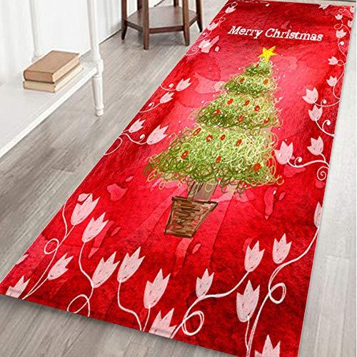 Weihnachten Langer Teppich Rutschfest Christmas Fußmatte, Hukz Weicher Türmatte Saugfähig Badematte Badteppich Badvorleger für Wohnzimmer Schlafzimmer Küche Badezimmer Weihnachtsdeko, 60x180cm