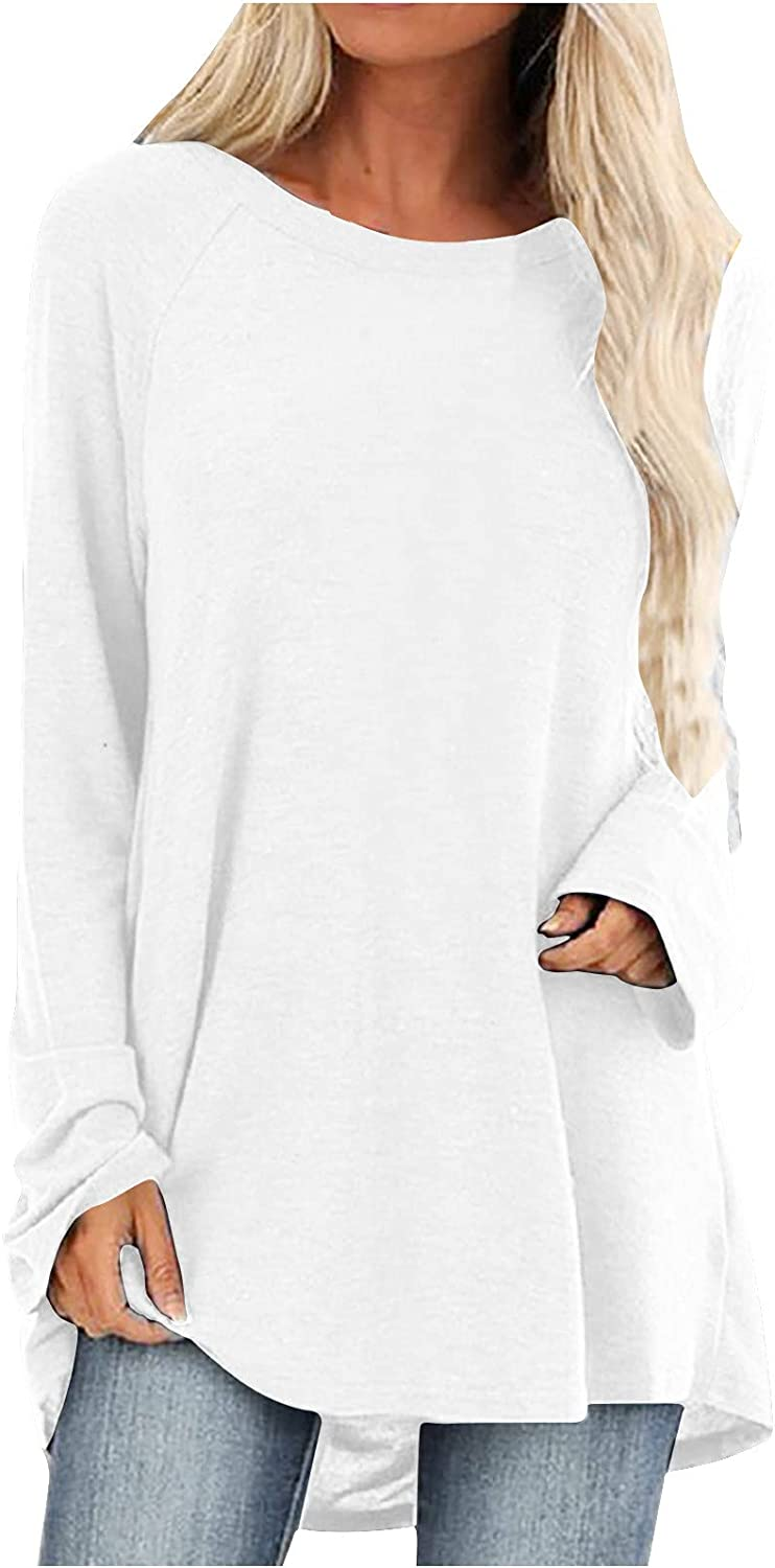 Womens Oversized Long Sleeve Crewneck Sweatshirts Solid Color Knit Pullover Comfy Loose Tunic Streetwear Tops