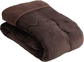 アイリスプラザ 掛け布団 毛布布団 ボリューム 1枚であたたか 軽量 三層構造 中綿入 シープボア フランネル 丸洗い シングル ブラウン