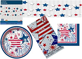 Memorial Day July Fourth Patriotic Party Supplies Bundle: Serves 16 Guests