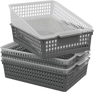 Dynko Plastique A4 Panier de Rangement 6 Paquets, Transparent et Gris Panier Plastique Rectangulaire