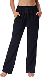 GRACE KARIN Women 4 Pockets Comfort Fit Straight Leg Drawsting Pant Trouser