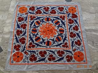 Handicraftofpinkcity Suzani Embroidered Tapestry Suzani Embroidered Wall Hanging Suzani Embroidered Table Runner 44x44'' Tapestry Throw Ssth05