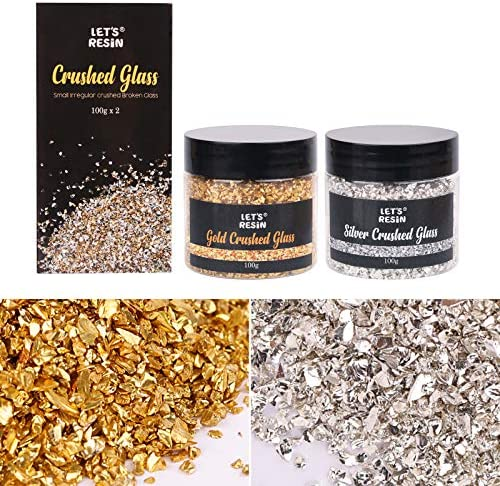 LET S RESIN Crushed Broken Glass 2PCS Glass Chunky Glitter for Resin Silver and Gold Metallic product image