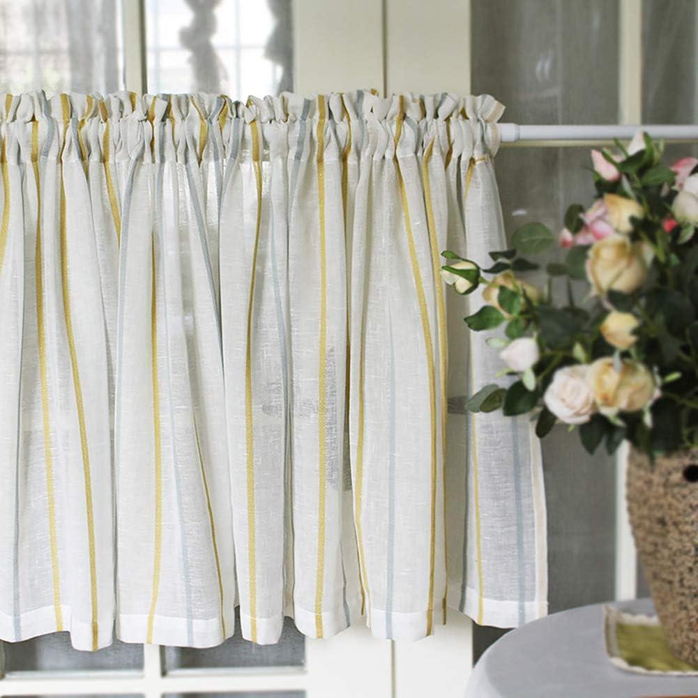 LDJ Stripe Tier Curtain Half Curtains free Cafe Drape Short Outlet SALE Window