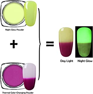 Elite99 Nigt Glow Nail Powder with Thermal Color-changing Nail Powder UV Gel Manicure Nail Art Pigment Decoration 2PCS (C07)