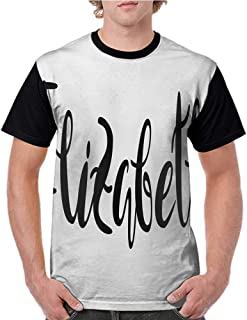 Printed Short Sleeves,Elizabeth,Monochrome Inscription Style Modern Calligraphy Design Popular Girl Name,Black and White S-XXL Baseball T-Shirt Tee Tops
