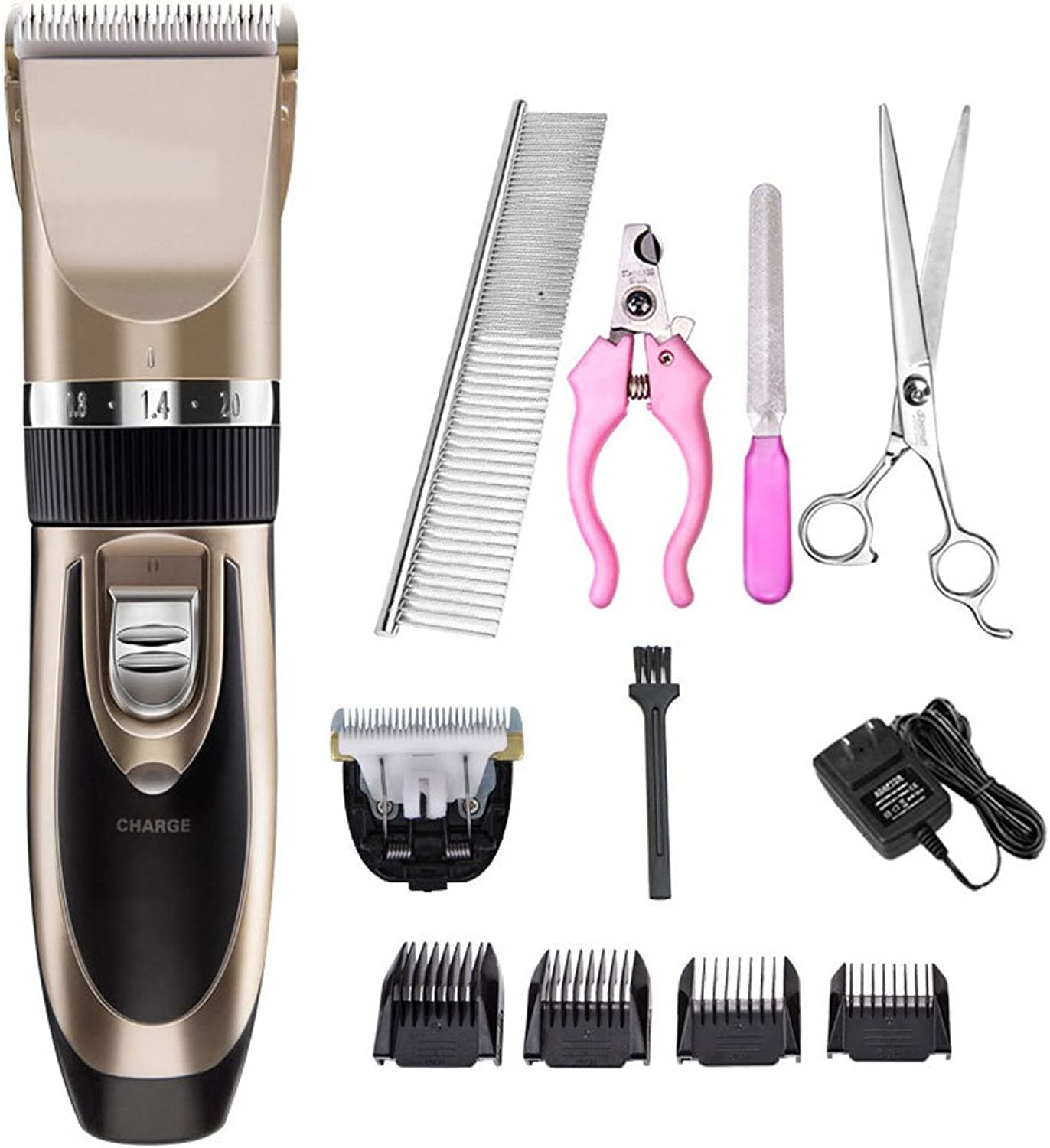 Pet grooming shaver, Low Noise and Low Vibration Convenient and easy to use Pet Grooming Clippers, for Small Animals(Cats,Dogs)  Champagne gold