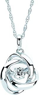 925 Sterling Silver 1/5 Cttw Diamond Knot Pendant Necklace With 18