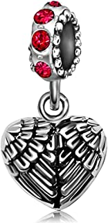 Angel Wings Heart Love Birthstone Dangle Charms Beads for Bracelets Mother Father Gifts