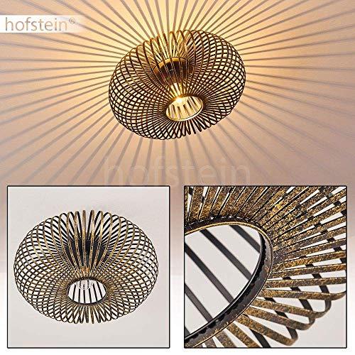 Plafondlamp Oravi, ronde metalen plafondlamp in zwart/goud, 1 vlam, E27 fitting max. 60 Watt, retro lamp met lichteffect door rasteroptiek, LED-lampen geschikt