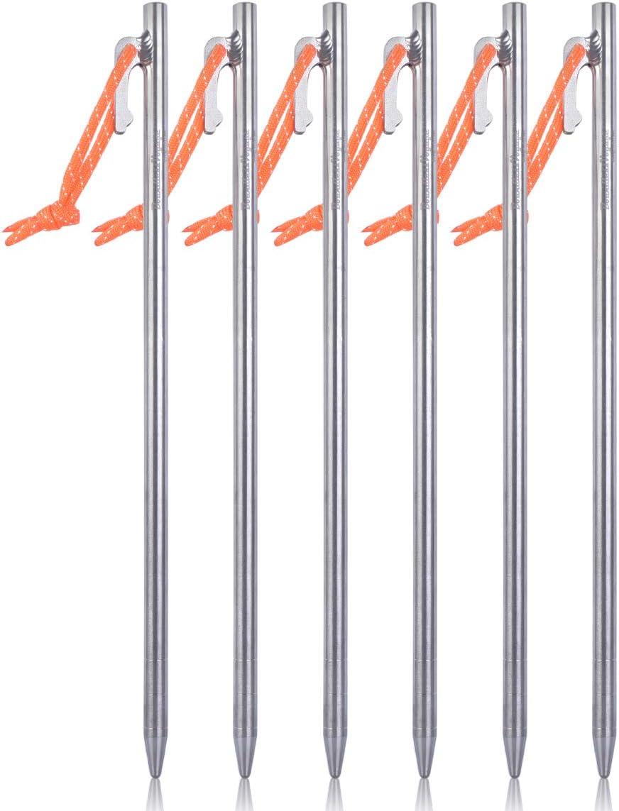 iBasingo Piquets de Tente en Alliage de Titane Broches M/étalliques Piquets Dauvent de Camping en Plein air la Tente R/ésistante Cloue Les Accessoires de Tente 20cm//24cm//30cm//35cm//40cm Ti1564B