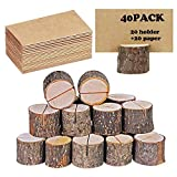40 portatarjetas rústico de madera con soporte de madera para tarjetas de mesa,...