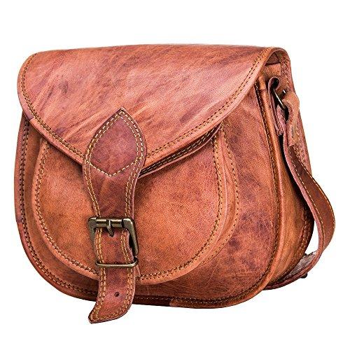 Lederen zadeltas portemonnee voor jonge vrouwen en tieners meisjes, lederen Crossbody schoudertassen, cosmetische tas, bruine fietstas (bruin, 25 cm)