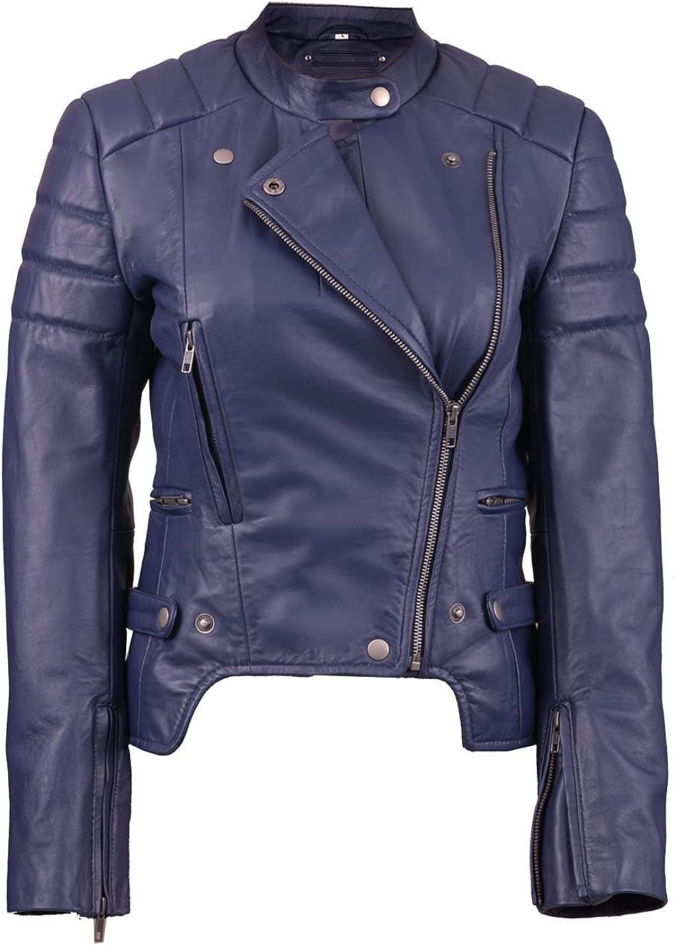 Fashionsta Craze Blue Biker Short Body Faux Leather Jacket for Women - Jacket for Women