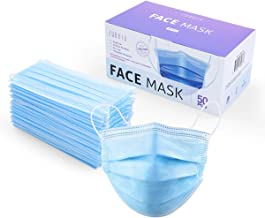 ZUBREX 50 Pcs Disposable 3 Ply Safety Face Mask for Protection - with Nanofiber Filter Lining - and Elastic Earloops (Blue)