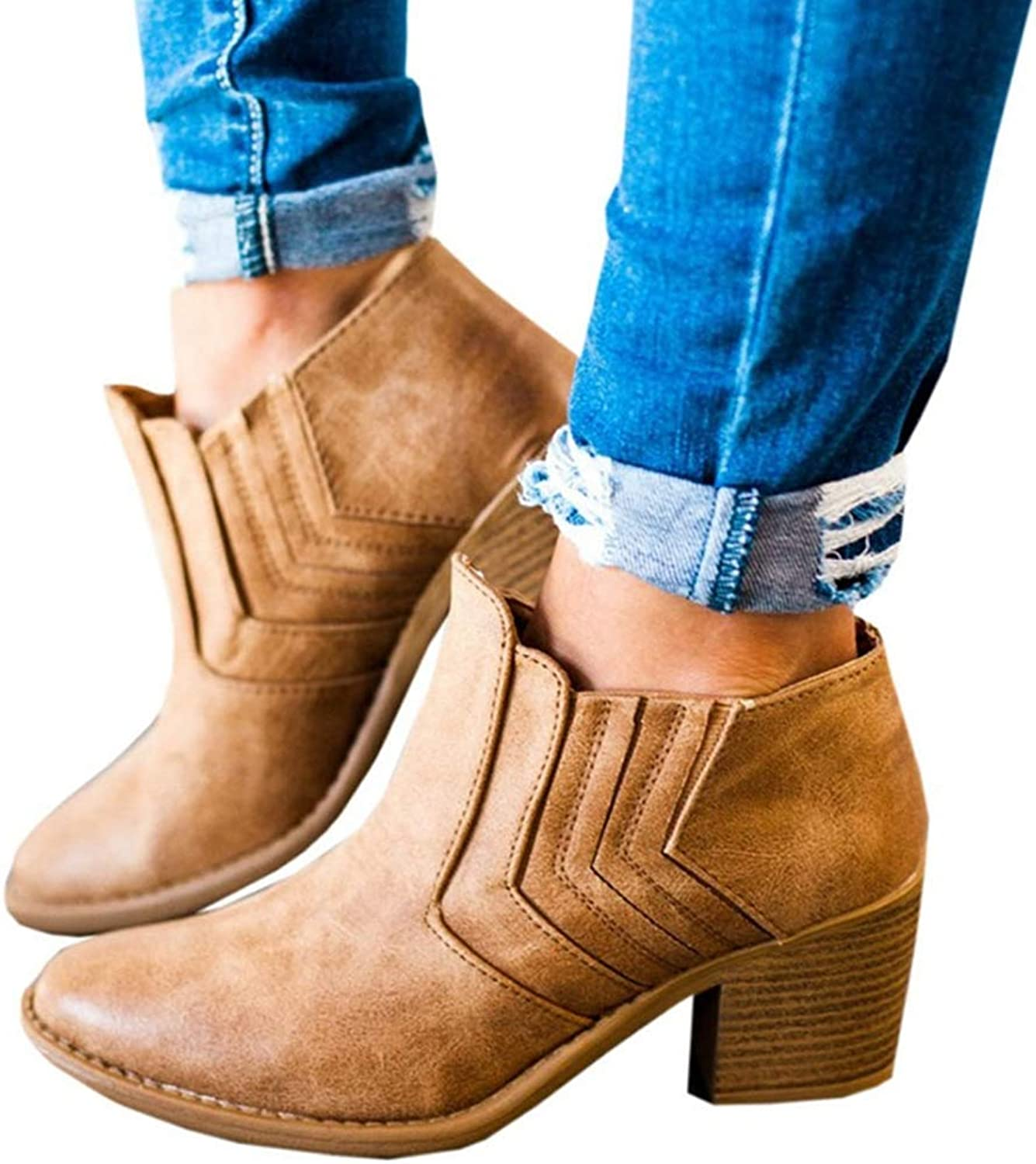 Hoxekle Autumn Female Ankle Boots Woman Squred Mid Heel Boots Slip On Ladies Short Boots Sewing Footswear shoes