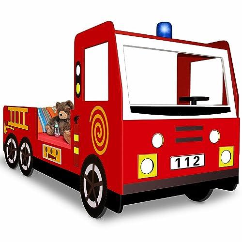 Deuba  100311 Lit enfant design camion pompier Lit pour enfants avec sommier à lattes inclus - 205x94,5x103cm