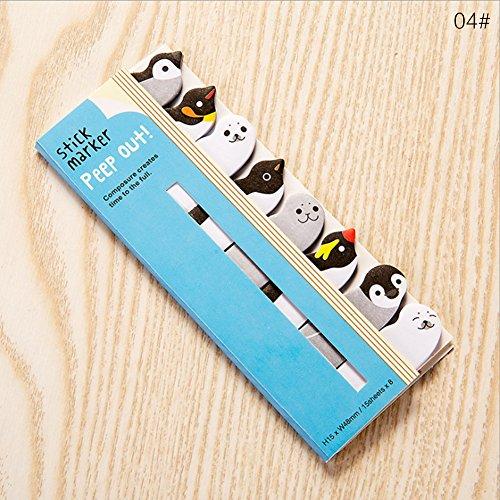 Notas y pegatinas bonitas de papeleria japonesa y material de papeleria coreano, marcapaginas de animales 12.5×5cm 04#