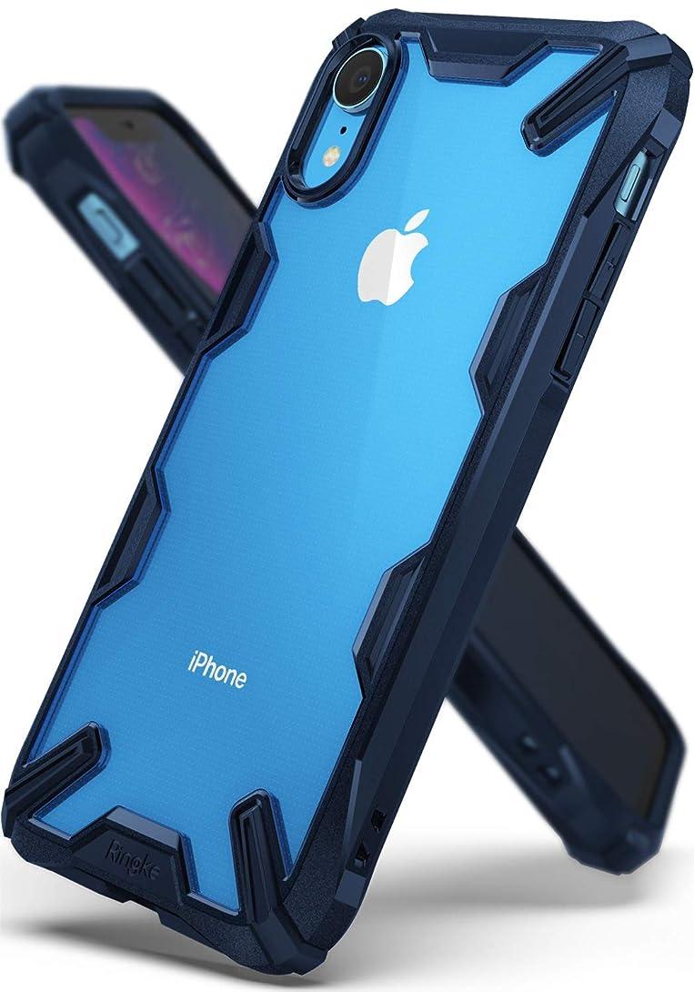 ピア所有権トレイル【Ringke】iPhone XR ケース 対応 コスパ最高 ストラップホール 落下衝撃吸収 [米軍MIL規格取得] TPU PC 2重構造 スマホケース 吸収耐衝撃カバー 背面クリア Qi ワイヤレス充電対応 Fusion-X (Navy/ネイビー)