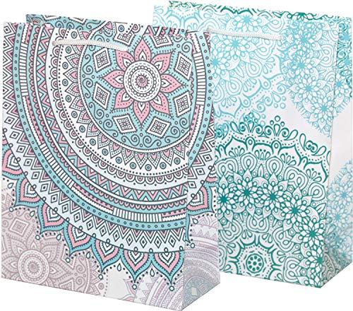 Geschenktüten, 18 x 23 x 8 cm, 12 Stück | Geschenktaschen Mandala | Tüten für Geschenke | Muster Blau Grün Rosa