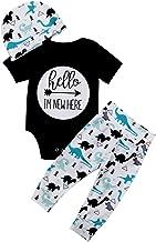3Pcs Newborn Baby Boy Clothes Cute Letter Print Romper Tops + Pants + Hat Outfits Set
