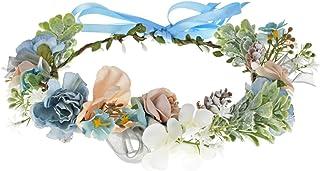 Vividsun Bohemian Flower Crown Wedding Festival Floral Crown Hair Headpiece (Blue)