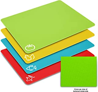 Flexible Cutting Board Mats Set, HISRAY Premium Plastic Chopping Board Easy to Clean, 4 Colored Reversible & Eco Friendly Mats with Food Icons Extra Large Size 15'' x 12'' for Kitchen Bar,BBQ,Boat,RV