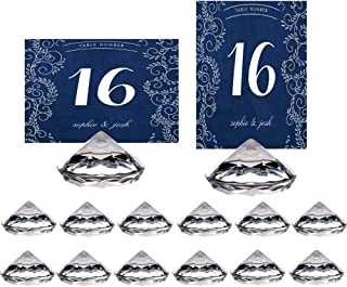 HOHIYA Table Number Holder Place Card Holders Stand Wedding Diamond Acrylic Crystal(Clear,Pack of 12)