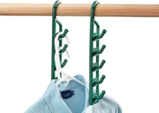 Green Zmmyr PP Foldable Clothes Hangers Mini Telescopic Travel Folding Hanger Set of 4