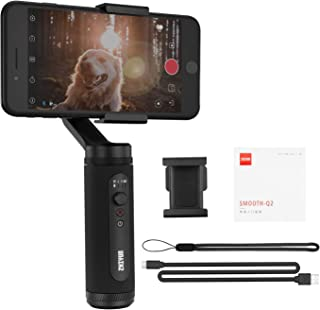 Zhiyun Smooth Q2 3-Axis Handheld Gimbal Stabilizer for Vlog YouTube Video Record Street Snapshots, Compatible with Smartphone Like iPhone Xs 8 Plus 7 Plus Samsung Galaxy Huawei (Black)