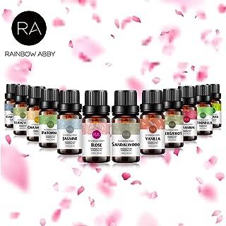 RAINBOW ABBYエッセンシャルオイルセット、トップ12 100%ピュアアロマセラピーキット、12 x 10ml香料入りオイル(ローズ、バニラ、サンダルウッド、クラリーセージ、パチュリー、ゼラニウム、ジャスミン、カモミール、ベルガモット、イランイラン、レモングラス、ベチバー)