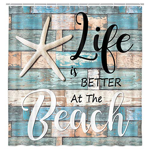 Beach Shower Curtain, Rustic Vintage Wood Ocean Quote Words Fabric Shower Curtain, Nautical Coastal Theme Shower Curtian with Hooks 69x70Inches