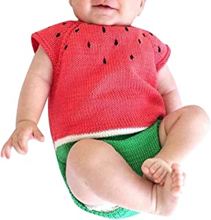 Toddler Baby Girls Boys Clothes Sets for 0-18 Months,Onesies Sleeveless Watermelon Siamese Knitted Romper Sweater Tops Outfit