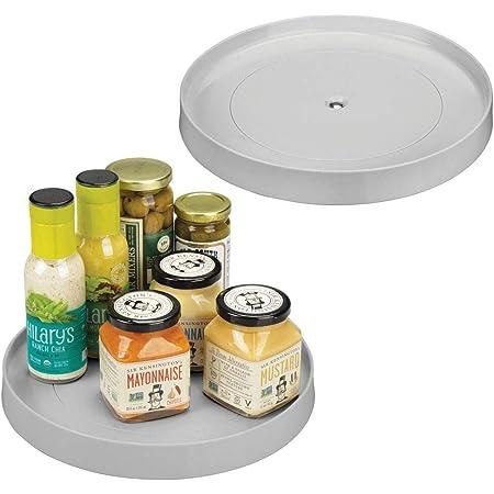 mDesign Lazy Susan Contenedor de plástico para almacenamiento de alimentos para armarios, despensa, refrigerador, encimeras, organizador giratorio para botellas de especias, condimentos, hornear, redondo, 28,6 cm, 2 unidades, gris