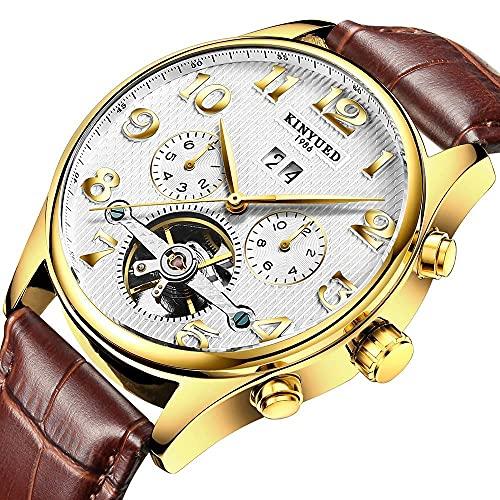 N&I Reloj de pulsera para hombre de piel de color marrón claro y fino, de cuarzo, clásico, informal, para negocios, moderno, unisex, de vestido, color B