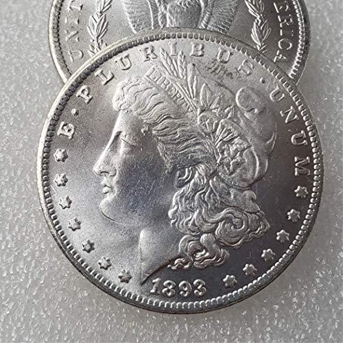 YunBest Morgan US Dollars-US Old Coin Collecting - Great American Coin - USA Old Original Pre Morgan Dollar - Monedas no circuladas/Estado Coleccionable BestShop, 1893, 1 Pcs Coin