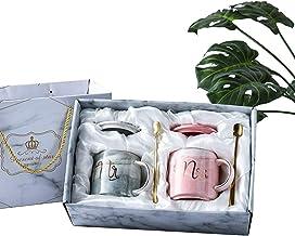 Amycute 2 PCS Tazas de Regalo para Parejas, 450 ml Tazas De Cerámica Mr y Mrs Cafe Vasos de Boda Copa mr Mrs Aniversario Regalos para la Novia y el Novio