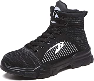 Mens Leather Safety Boots S3 Steel Toe Cap Work Shoes Ankle Hiking Mens Safety on Site Boots Lace Up Mesh Oil And Slip Resistant Shoes