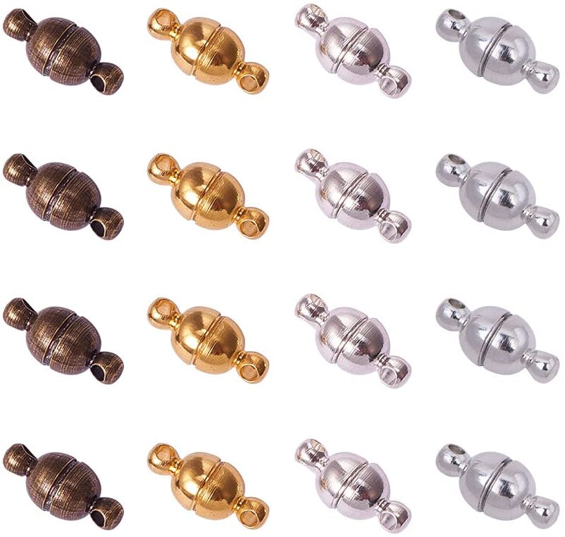 PH PandaHall 100 Sets Brass Magnetic Cheap super special price Color Ma Clasps shop Round Mixed
