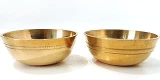 Evergrow Corp Set of 2 100% Pure Brass Bowl for Bhog Prasad Arti Vraja Krishna Ganesha Laxmi Worship Pooja