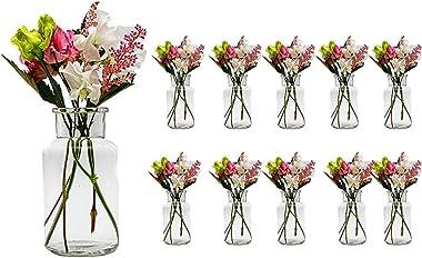 Casavetro - Lot de 10 Petits vases en Verre, Ronds, 12,5 cm de Hauteur, vases pour décoration, 250 ML